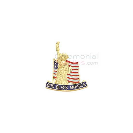 American flag with Statue of Liberty and 'God Bless America' text on a lapel pin