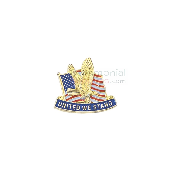 American flag with eagle and 'United We Stand' text on a lapel pin