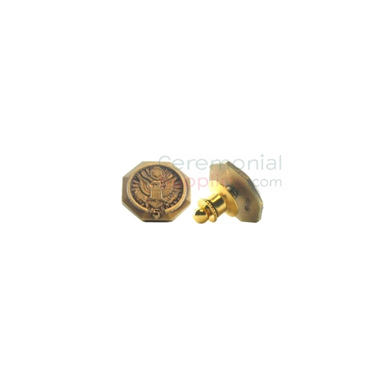 Bronze lapel pin with '5' text and American seal