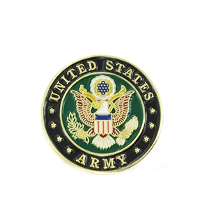 A round lapel pin with the Army insignia