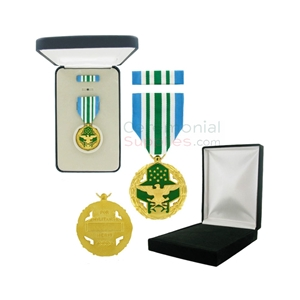 Display of the Joint Service Military medal with option for the black velour box or official Government box.