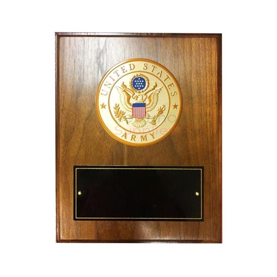US Army Medallion Award Plaque with walnut finish