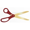 Image of golden blade scissors with maroon handles.