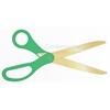 Image of golden blade scissors with green handles.