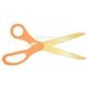 Image of golden blade scissors with orange handles.