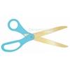 Image of golden blade scissors with teal handles.