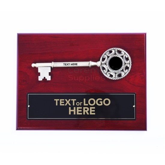 Key to the City Plaque with Ornate Key Bow and Text