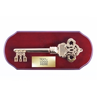 Executive Ceremonial Golden Key to the City Plaque with Piano Finish Wood Front View with Sample Text Area