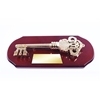 Executive Ceremonial Golden Key to the City Plaque with Piano Finish Wood Side View