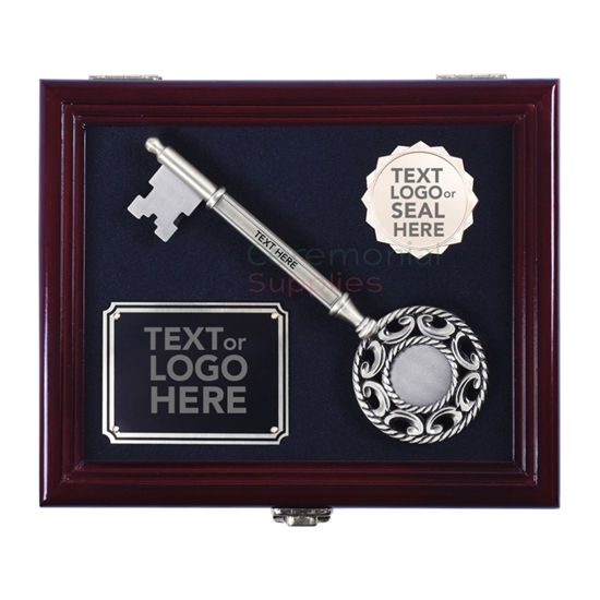 Pictured Key to the City in Presentation Box with Marked Engraving Area