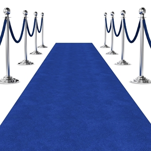 Picture of Standard Blue Event Carpet Runner Rolled Out for Event.