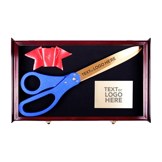 Ceremonial scissor display case with mementos inside.
