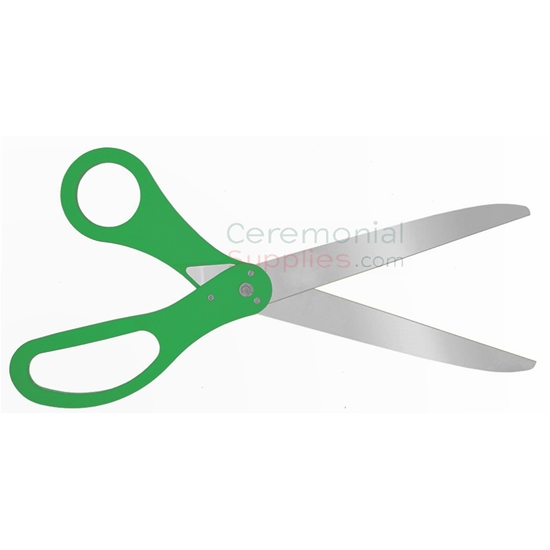 Green Ceremonial Ribbon Cutting Scissors with Silver Blades.