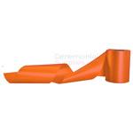 Plain orange ceremonial grand opening ribbon in artsy pose.