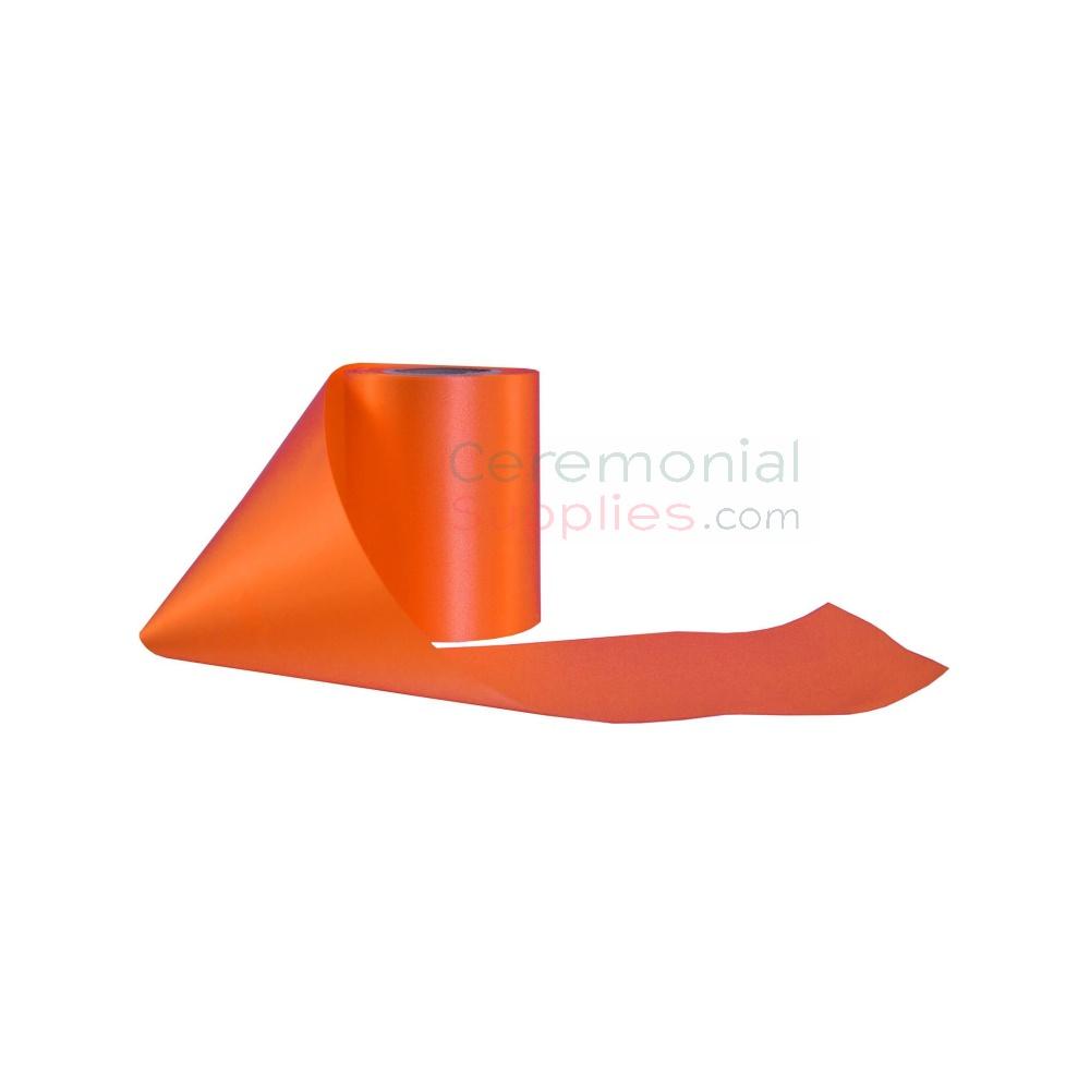 Alternate image of plain wide grand opening ribbon in orange.