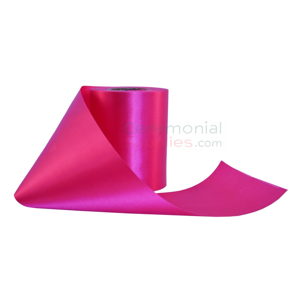 Image of hot pink grand opening ribbon taken in different position.