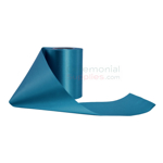 Partially unraveled teal grand opening ribbon; plain