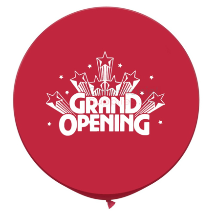 Giant inflated red grand opening balloon.