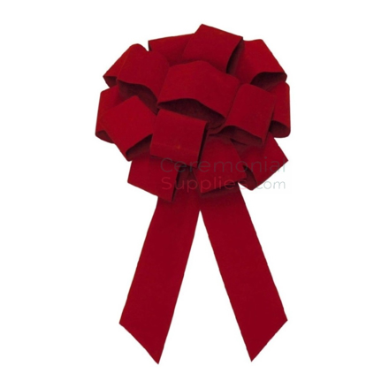 Top view of Giant 43 Inch Red Velvet Ceremonial Bow