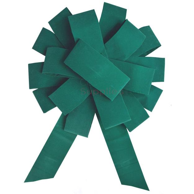 Image of assembled Giant 43 Inch Ceremonial Pine Green Velvet Bow