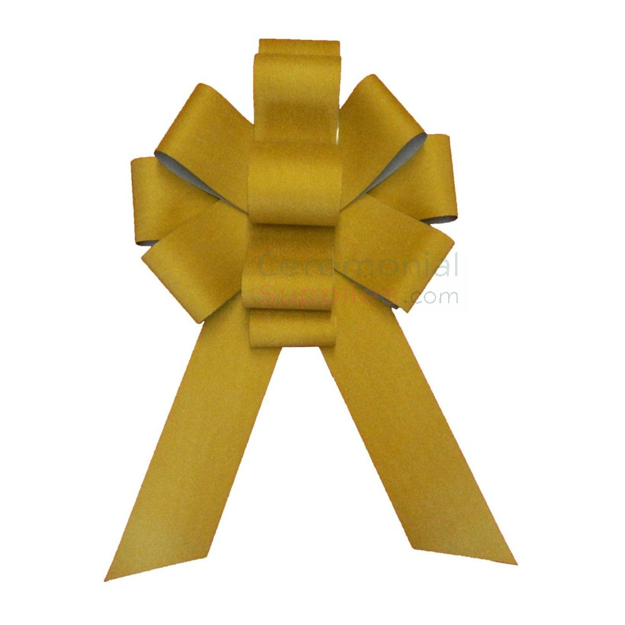 Full view of assembled golden sparkling 25 inch giant ceremonial event bow.