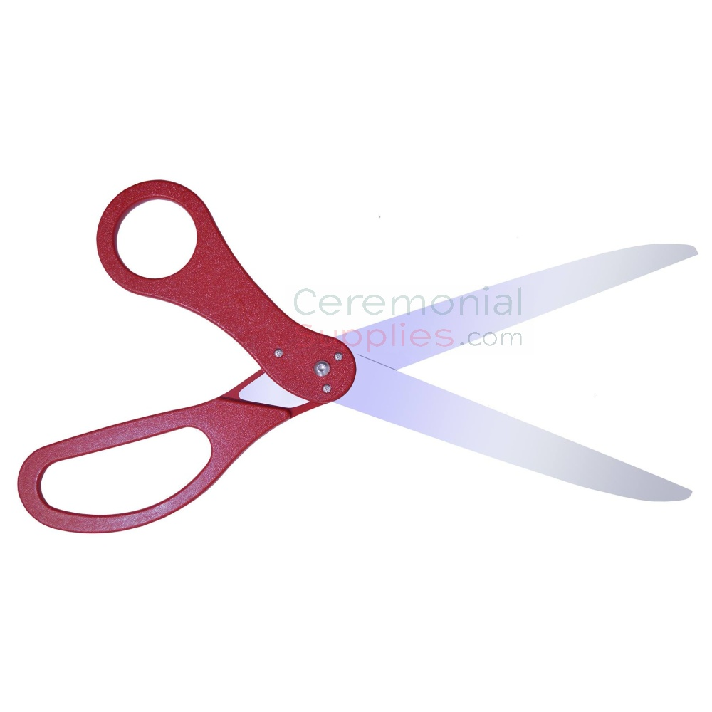Open view of maroon ribbon cutting scissors.
