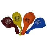 Assorted line up of deflated 17 inch grand opening balloons.