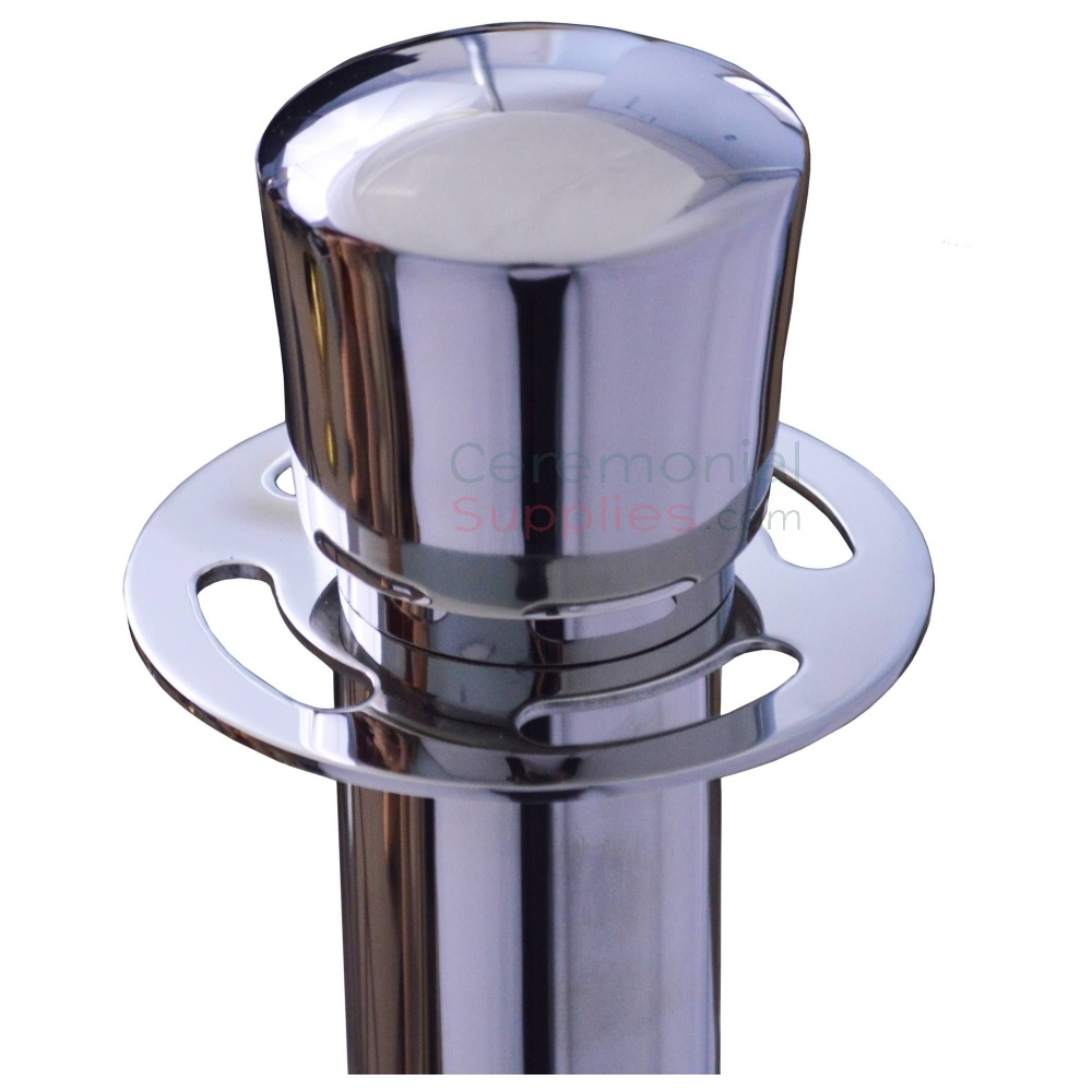 Up close view of polished steel stanchions urn top.