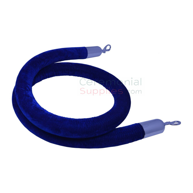 6 Ft Royal blue stanchion rope with polished steel finish.