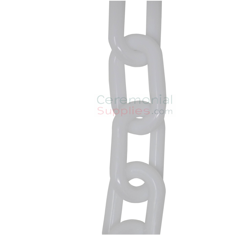 Close up of plastic chain rope for white stanchions.