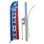 Full view of assembled Feather Style Grand Opening Flag And Pole Kit.