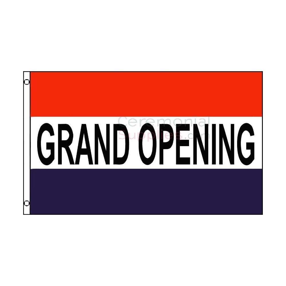 Graphic design art of standard grand opening flag.
