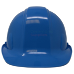 Front view of light blue ceremonial hard hat.