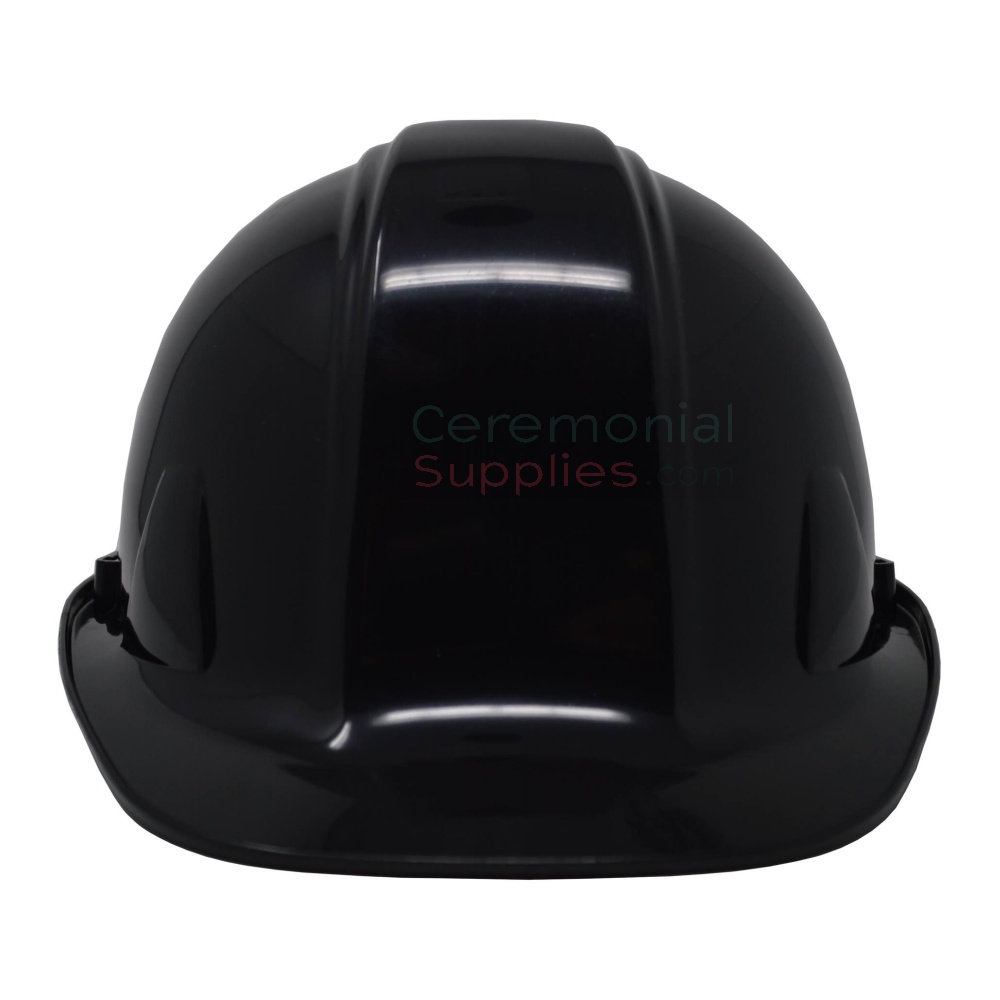 View of black groundbreaking ceremonial hard hat from the front.