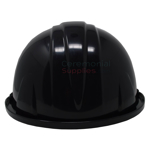 Rear angle of black groundbreaking hard hat.