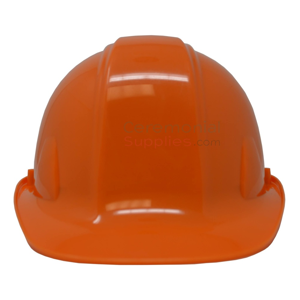 Picture of a Orange Ceremonial Groundbreaking Hard Hat from the front.