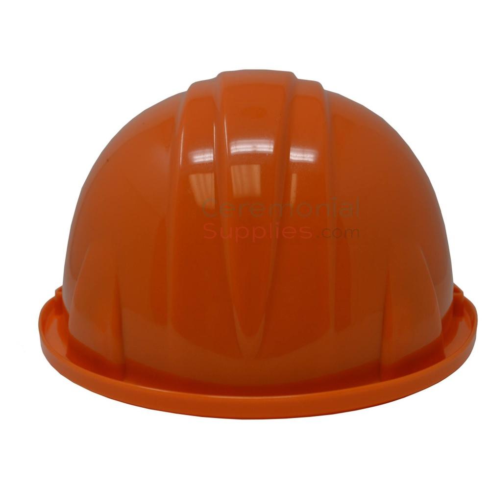 Back side of orange groundbreaking hard hat.