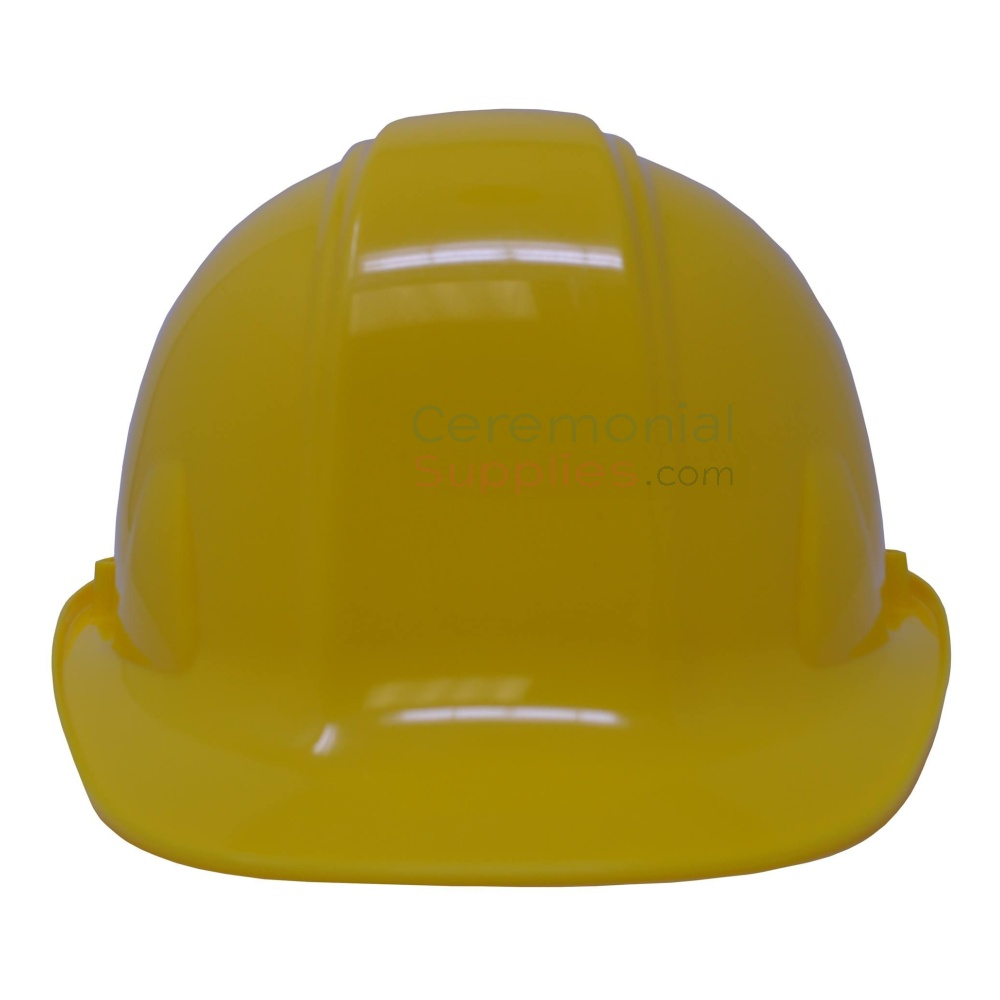 Bright yellow ceremonial hard hat from front.