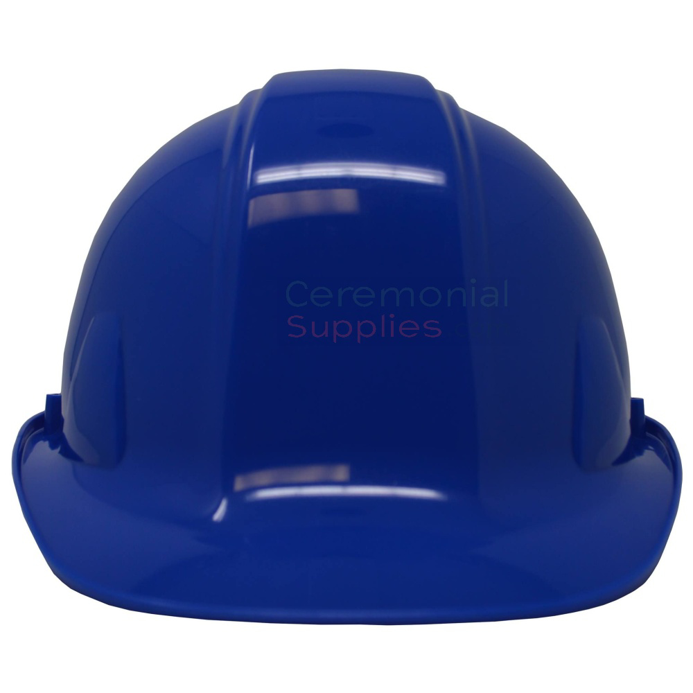 Front angle of ceremonial royal blue groundbreaking hard hat.