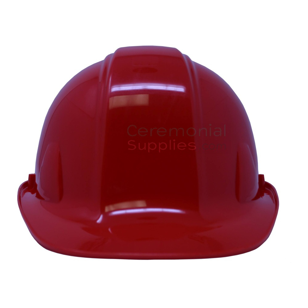 View of red ceremonial hard hat from the front.