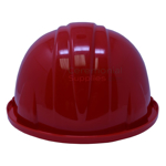 Back view of red ceremonial hard hat.