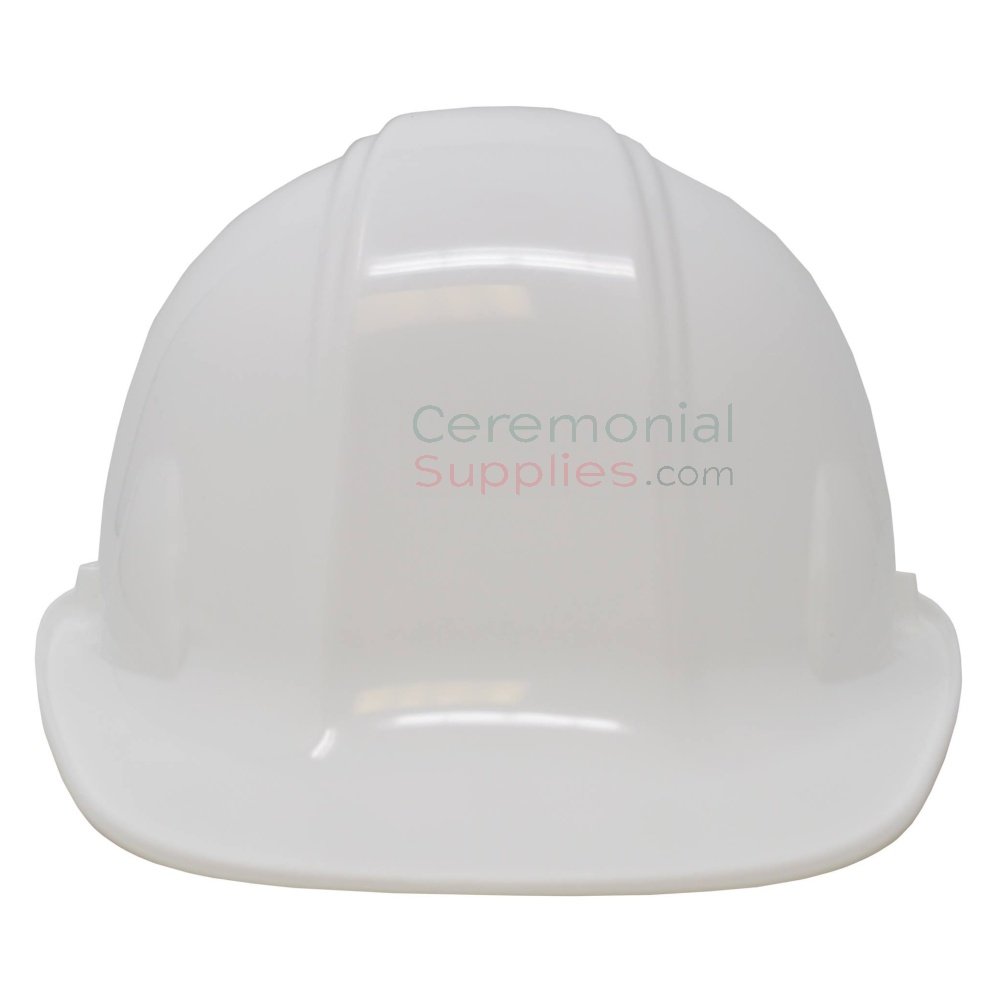Front view picture of a White Groundbreaking Hard Hat.