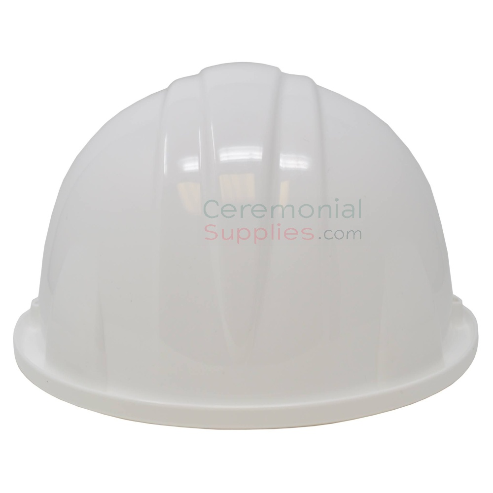 Rear angle picture of a White Groundbreaking Hard Hat.