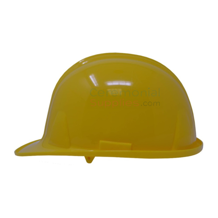 Picture of a bright yellow groundbreaking hard hat from side.