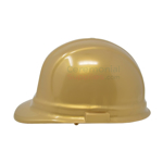 Side view picture of a Golden Groundbreaking Ceremonial Hard Hat.
