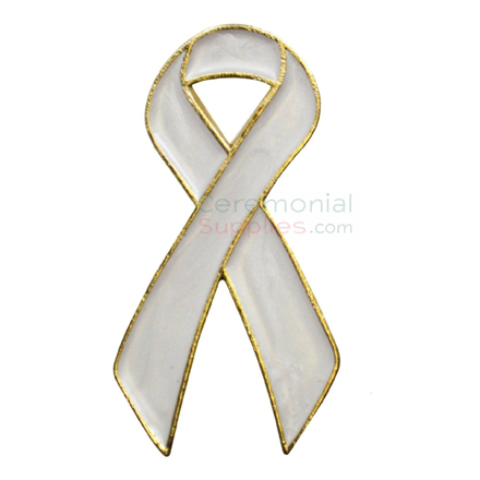 Picture of a White Looped Ribbon Awareness Lapel Pin.