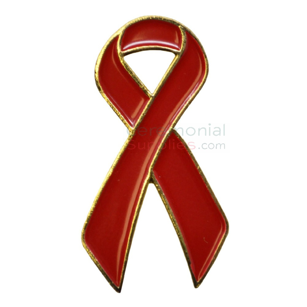 Picture of a Looped Red Support Ribbon Lapel Pin.