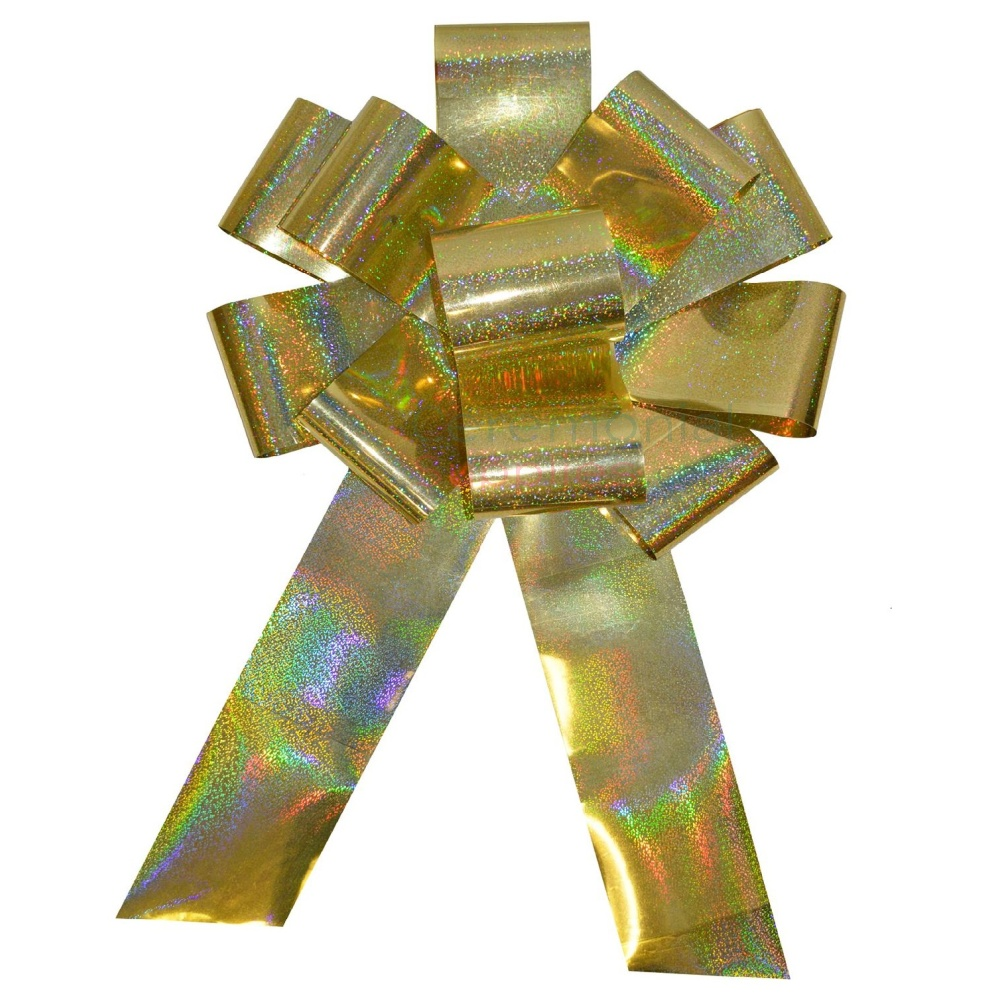 Picture of a 25 Inch Holographic Gold Ceremonial Spark Bow.