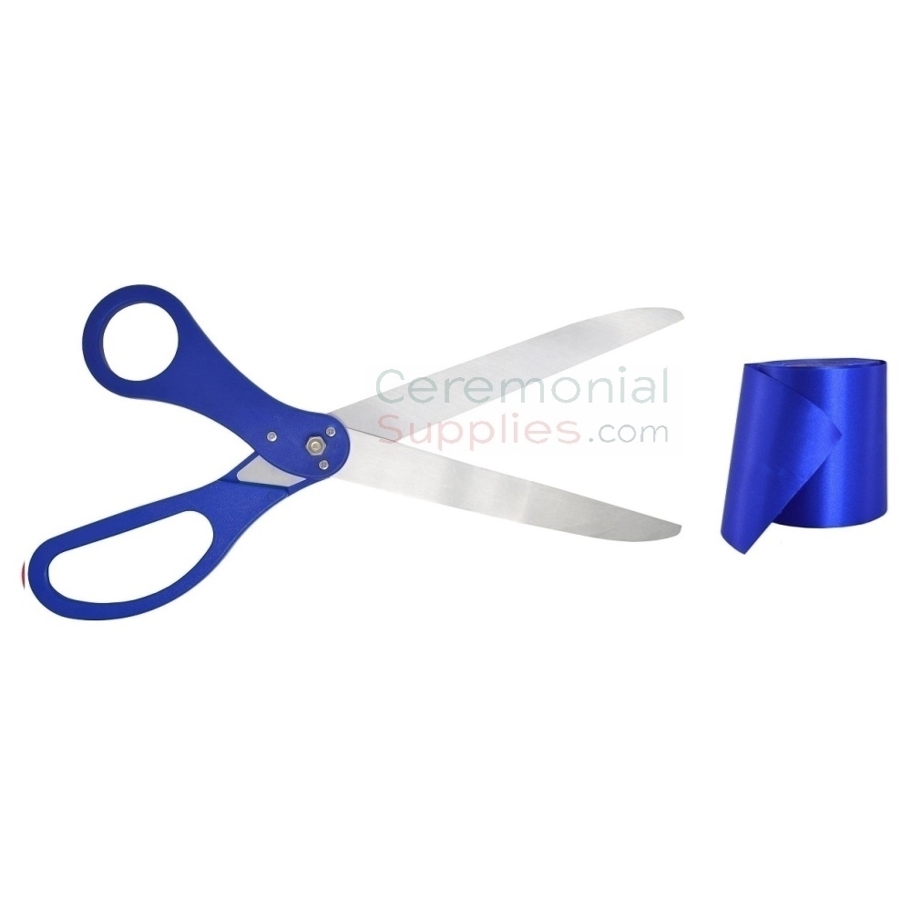 Picture of Matching Royal Blue Ribbon Cutting Kit.