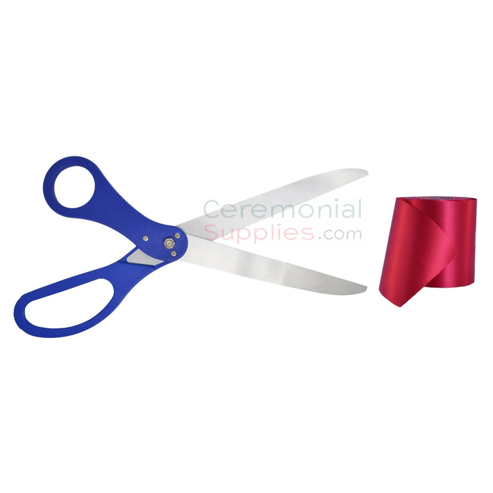 Pairing of Royal Blue Scissors with Red Ribbon.